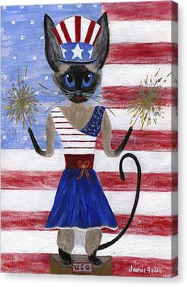 Siamese Queen Of The U S A Canvas Print by Jamie Frier