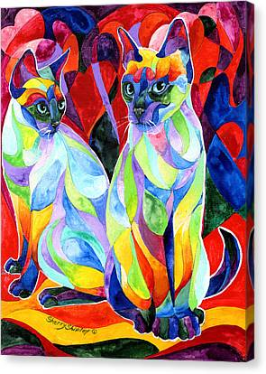 Siamese Sweethearts Canvas Print by Sherry Shipley