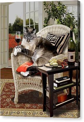 Funny Pet A Wine Bibbing Kitty  Canvas Print by Regina Femrite