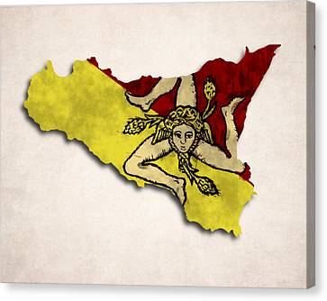 Sicily Map Art With Flag Design Canvas Print by World Art Prints And Designs
