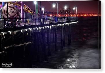 Side Of The Pier - Santa Monica Canvas Print by Gandz Photography
