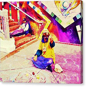 Sidewalk Artist In Haight-ashbury Canvas Print by John Malone