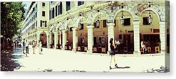 Sidewalk Cafe In A City, Corfu, Ionian Canvas Print by Panoramic Images