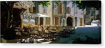 Sidewalk Cafe In A Village, Claviers Canvas Print by Panoramic Images