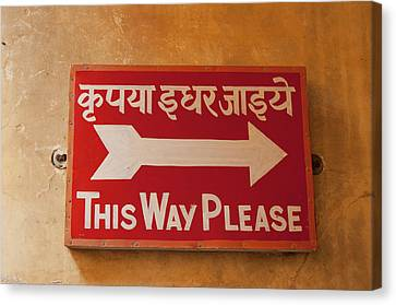 Sign In Hindi And English, City Palace Canvas Print by Inger Hogstrom