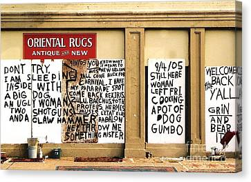 Sign Of Distress Post Hurricane Katrina Message Canvas Print by Michael Hoard