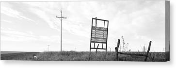 Signboard In The Field, Manhattan Canvas Print by Panoramic Images