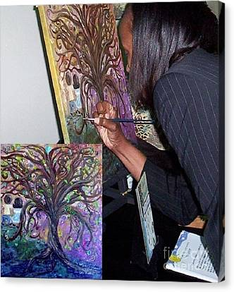 Signing The Tree With Jackie Joyner- Kersee  Canvas Print by Eloise Schneider