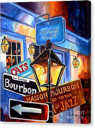 Signs Of Bourbon Street Canvas Print by Diane Millsap