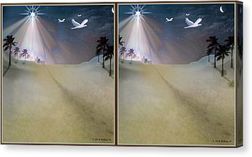 Silent Night - Gently Cross Your Eyes And Focus On The Middle Image Canvas Print by Brian Wallace