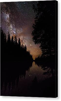 Silhouette Curves In The Starry Night Canvas Print by Mike Berenson
