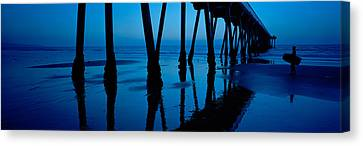 Silhouette Of A Pier, Hermosa Beach Canvas Print by Panoramic Images