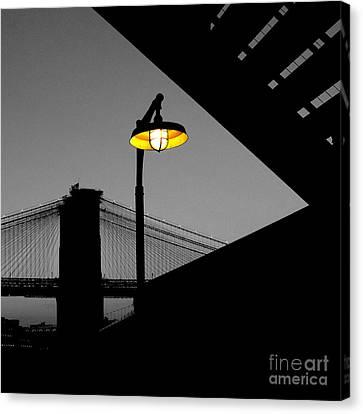 Silhouette Of Brooklyn Bridge New York City Canvas Print by Sabine Jacobs