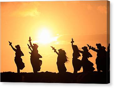 Silhouette Of Hula Dancers At Sunrise Canvas Print by Panoramic Images