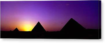 Silhouette Of Pyramids At Dusk, Giza Canvas Print by Panoramic Images