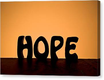 Silhouette Single Word Hope Canvas Print by Donald  Erickson