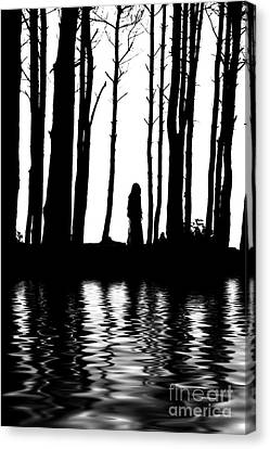 Silhouette Woman Between Trees Water Reflections Canvas Print by Aleksey Tugolukov