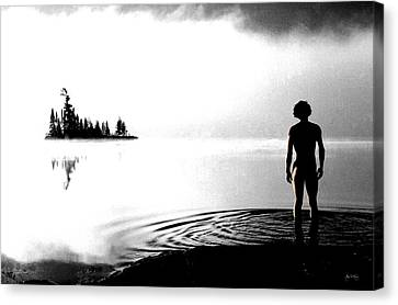 Silhouettes In The Mist Canvas Print by Wayne King