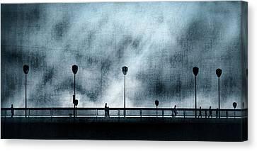 Silhouettes Sur La Passerelle. Blue. Canvas Print by Sol Marrades