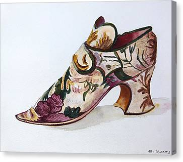 Silk Damask Shoe - Late 17th Century Canvas Print by Mary Quarry