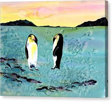 Silk Penguins Canvas Print by Carolyn Doe