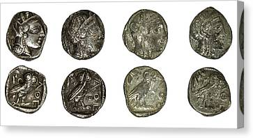 Silver Athena Coins Canvas Print by Photostock-israel