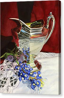 Silver Pitcher And Bluebonnet Canvas Print by Hailey E Herrera