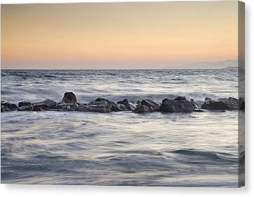 Silver Sea At Sunset Canvas Print by Guido Montanes Castillo