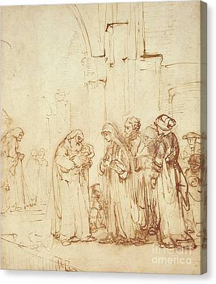 Simeon And Jesus In The Temple Canvas Print by Rembrandt Harmenszoon van Rijn