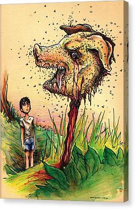 Simon And The Beast Canvas Print by John Ashton Golden