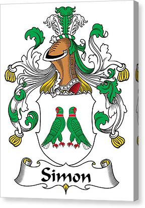 Simon Coat Of Arms German Canvas Print by Heraldry