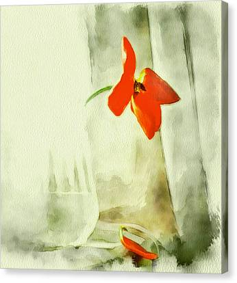 Simple Flower In Glass Vase Canvas Print by Yury Malkov