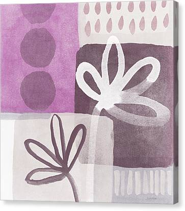 Simple Flowers- Contemporary Painting Canvas Print by Linda Woods