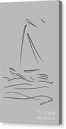 Simple Sailing Boat Drawings Canvas Print by Mario Perez