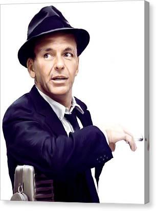 Sinatra.  Frank Sinatra Canvas Print by Iconic Images Art Gallery David Pucciarelli