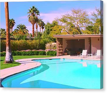Sinatra Pool Cabana Palm Springs Canvas Print by William Dey