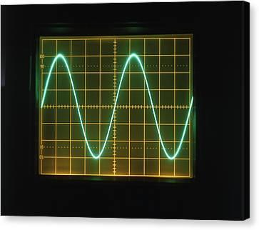 Sine Wave Display On Oscilloscope Screen Canvas Print by Dorling Kindersley/uig