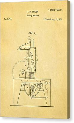 Singer Sewing Machine Patent Art 1851  Canvas Print by Ian Monk