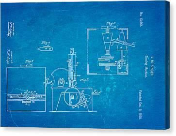 Singer Sewing Machine Patent Art 1855 Blueprint Canvas Print by Ian Monk
