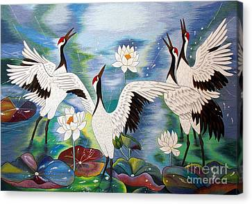 Singing In The Rain Hand Embroidery Canvas Print by To-Tam Gerwe