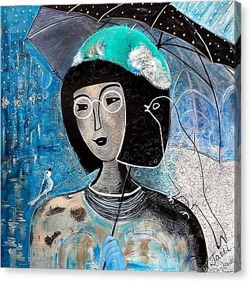 Singing Under The Rain Canvas Print by Tatiana Tatti Lobanova