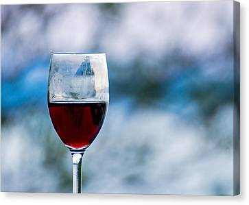 Single Glass Of Red Wine On Blue And White Background Canvas Print by Photographic Arts And Design Studio
