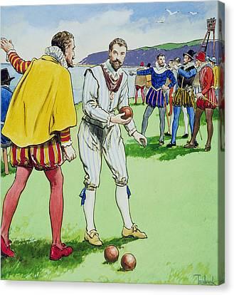 Sir Francis Drake Playing Bowls Canvas Print by Trelleek