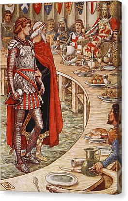 Sir Galahad Is Brought To The Court Of King Arthur Canvas Print by Walter Crane