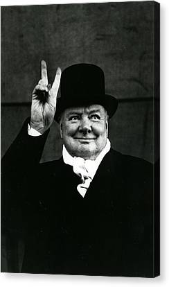Sir Winston Churchill Peace Sign Canvas Print by Retro Images Archive