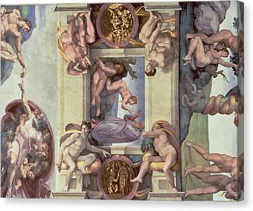 Sistine Chapel Ceiling 1508-12 The Creation Of Eve, 1510 Fresco Post Restoration Canvas Print by Michelangelo Buonarroti