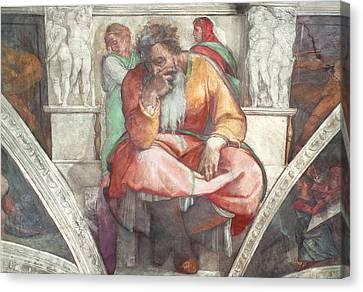 Sistine Chapel Ceiling The Prophet Jeremiah Pre Resoration Canvas Print by Michelangelo Buonarroti