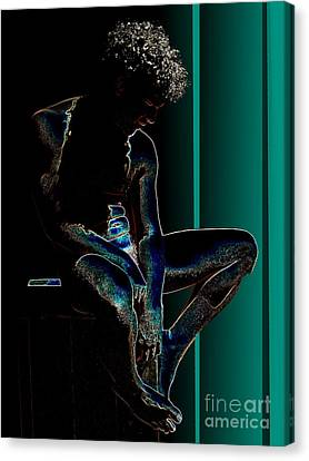 Sitting In The Turquoise Sun Canvas Print by Robert D McBain