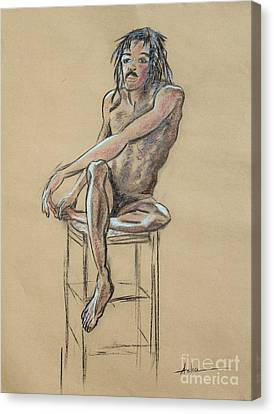 Sitting Man Holding His Foot Canvas Print by Asha Carolyn Young