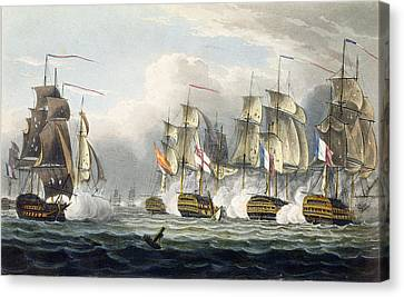 Situation Of The Hms Bellerophon Canvas Print by Thomas Whitcombe